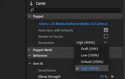 Increasing a Vectors resolution in Adobe Character Animator