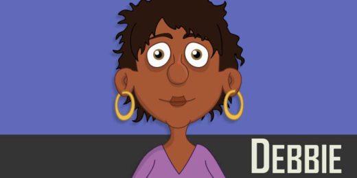 Debbie - a black adult female businesswoman puppet