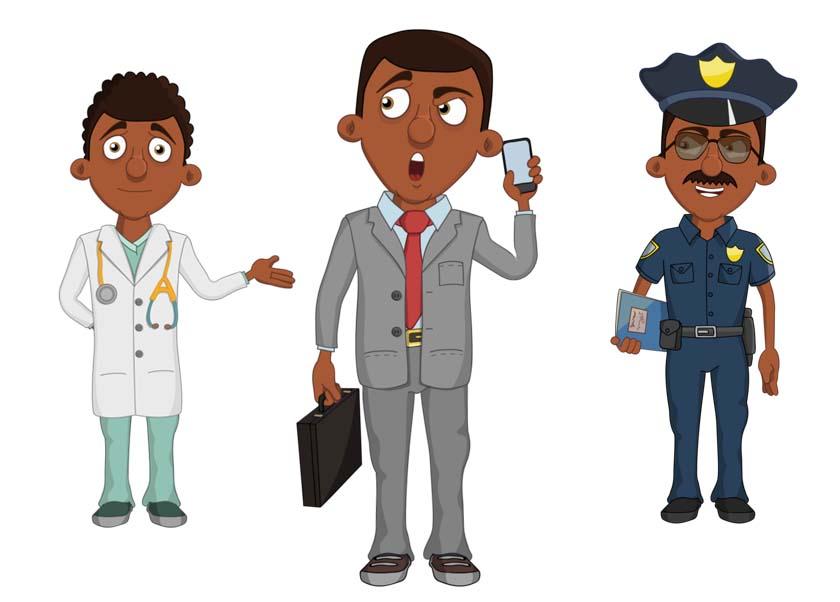 Frank - A black adult male businessman puppet