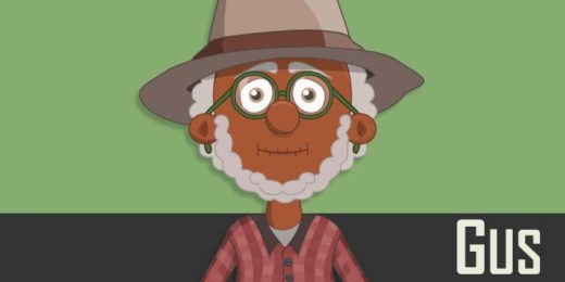 Gus - a black elderly male puppet