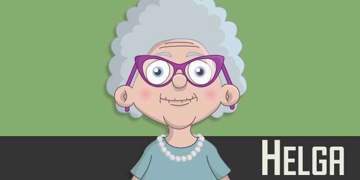 Helga - a white elderly female puppet