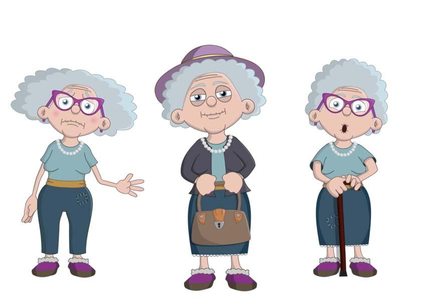 Helga - an elderly white female puppet