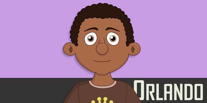 Orlando - a teen male black puppet