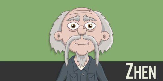 Zhen - an asian elderly male puppet