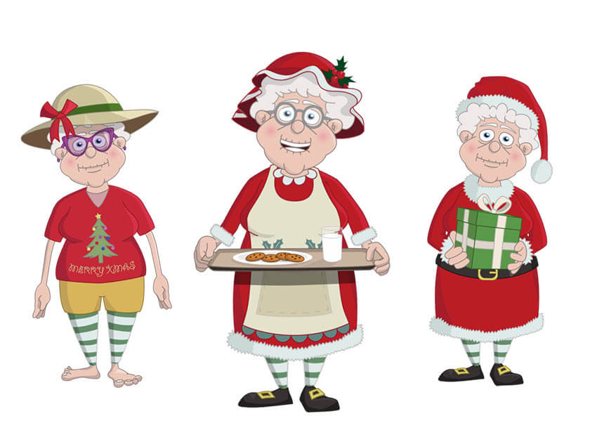 Mrs. Claus is a Christmas puppet available for Adobe Character Animator.