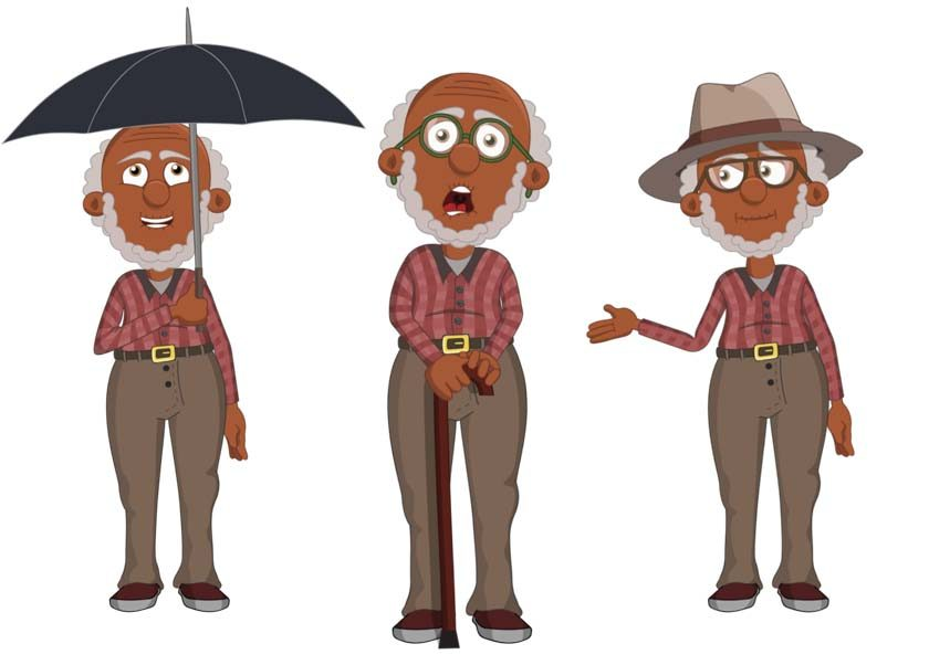 Gus - an elderly black male puppet